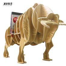 Exclusiva el Toreo toro lado varios animales de madera en forma de estantes estantería consola de mesa adornos decoraciones caseras creativas