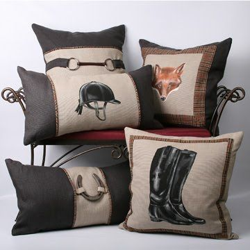 hand painted equestrian pillows