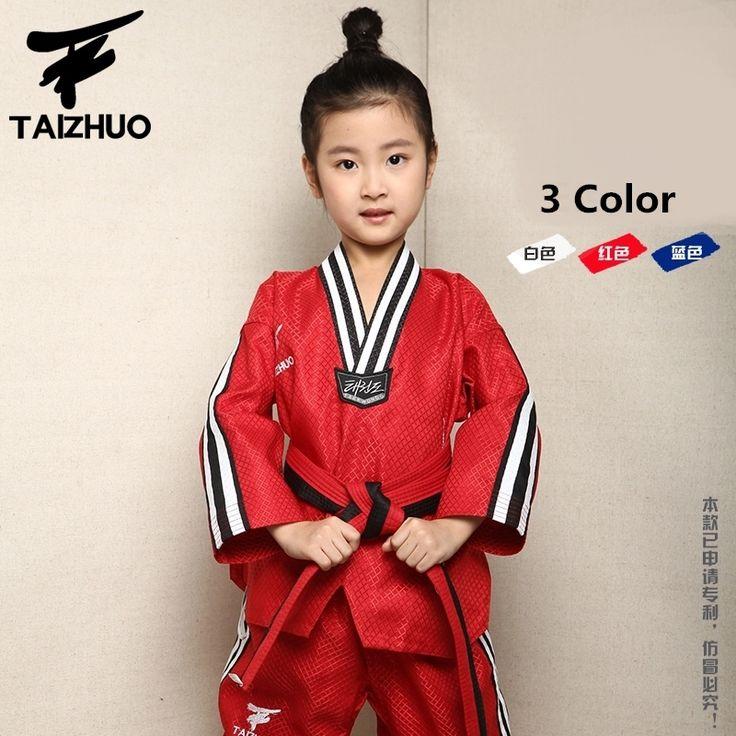 53.10$  Watch now - http://alirug.shopchina.info/go.php?t=32794370686 - Brand quality Taekwondo dobok uniform TKD cotten&bamboo fiber Uniform WTF children Kids Taekwondo Long sleeve clothes 110-150cm  #magazineonline