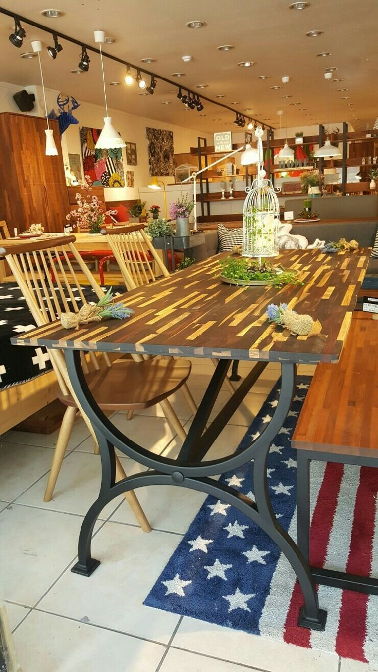 Industrial style dining table with Rosewood and steel frame