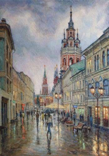 Картины (живопись) : Дождь на Никольской.