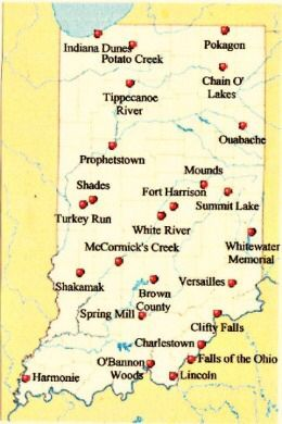 Indiana state parks map | Indiana Vacation Ideas | Indiana map
