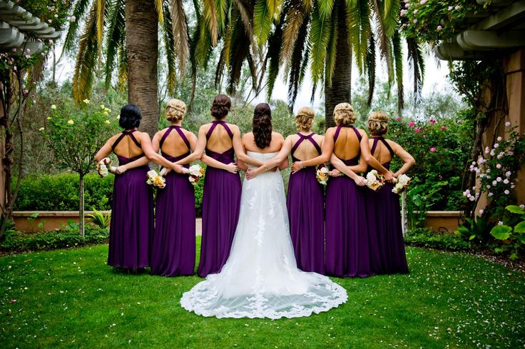 Bridesmaid Dresses - Watters (Plum)  Wedding Dress - Pronovias  Hair - Lovestruck Makeup Artistry  Venue - @D Ott Valencia