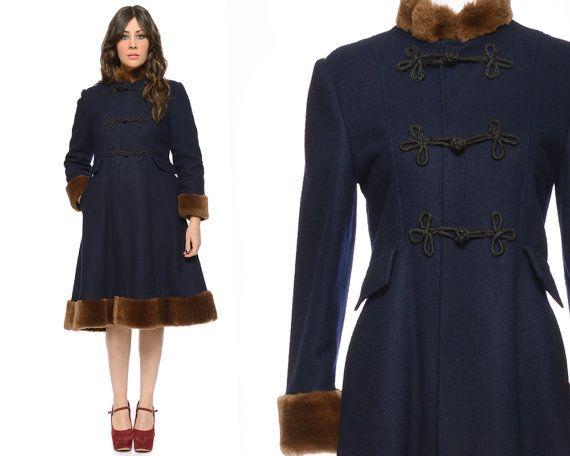 Princess Coat Navy Blue 60s Brown Faux Fur by GravelGhostVintage, $184.00