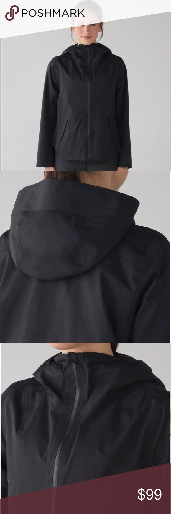 Lululemon Everyday Getaway Jacket in Black Transition into spring in this waterproof jacket designed with room to layer underneath.  Glyde Waterproof fabric is breathable and jacket is strategically seam-sealed to keep moisture out.  Designed for: To + from Cinchable hood: To maintain peripheral vision Storage: Zippered pockets and one media pocket stash your phone and essentials  Color is Black, size 4 - true to size. Item is in excellent condition. lululemon athletica Jackets & Coats…