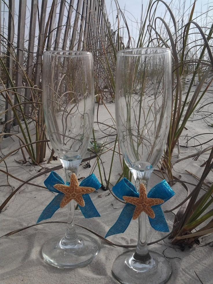 Sugar Starfish Turquoise Destination Beach Wedding Toasting Glasses. $25.00, via Etsy.