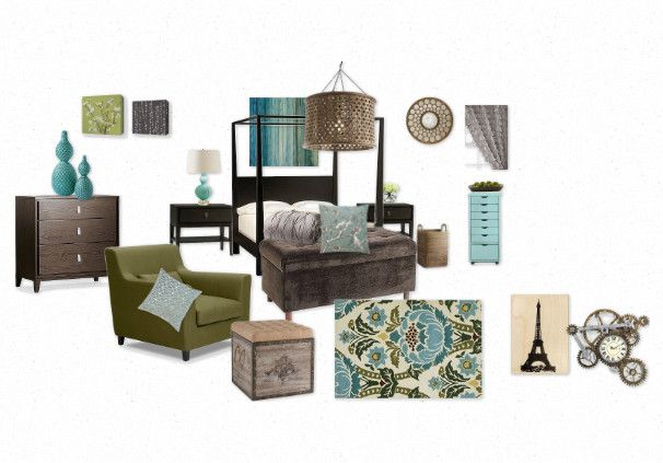 Guest bedroom. Teal and brown.