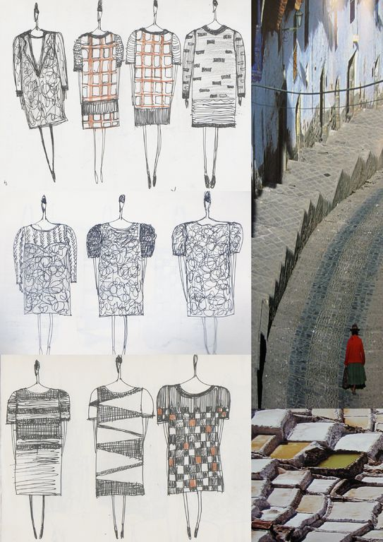 Fashion Sketchbook - developing a fashion collection; design drawings, clothing sketches, fabrics, prints, colour