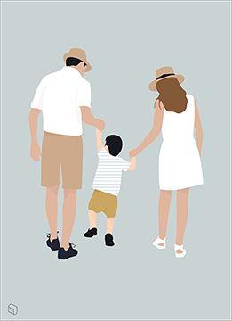 Flat Vector Families Illustrations