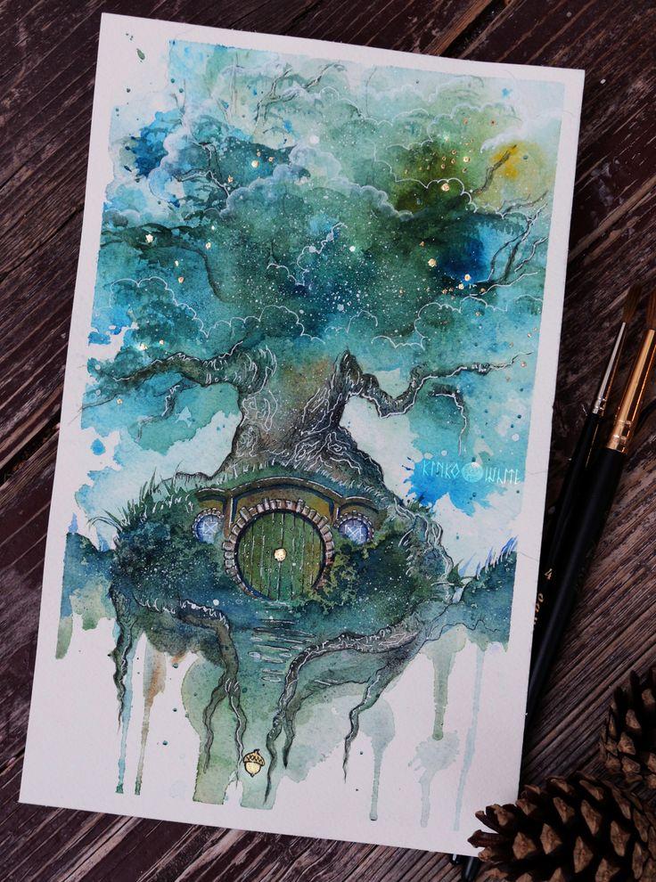 "kinko-white: "" Oak Tree Watercolor, ink, gold leaf… Find me on FB https://www.facebook.com/kinko.white/ """