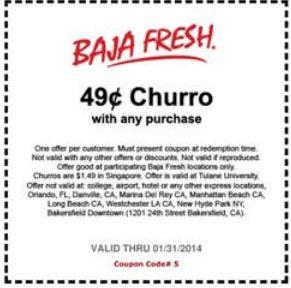 photograph regarding Baja Fresh Coupons Printable named Baja refreshing coupon / Mattress breakfast chattanooga