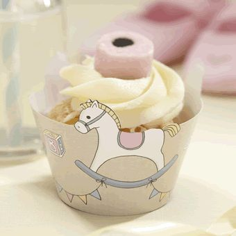 Brighten up your cupcakes by decorating them in these Rocking Horse Cupcake Wraps. Disguise the ordinary cases and cheer up your table! Great to be used for decoration at birthday parties, baby showers or christenings<br><br>Each pack contains 10 wraps. Measures 6cm tall and 20cm wide when un wrapped.