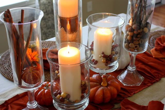Centerpiece: Fall Decor, Diy Tutorial, Candles Holders, Fall Tables, Fall Candles, Dining Rooms Tables, Tables Decor, Thanksgiving Tables, Diy Projects
