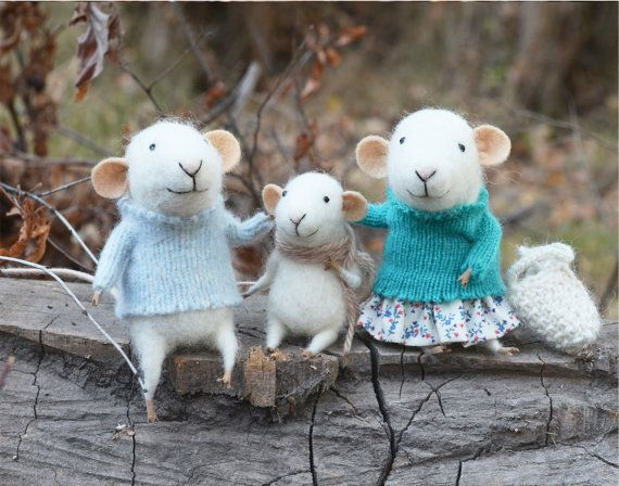 needle-felted mice family in knit sweaters