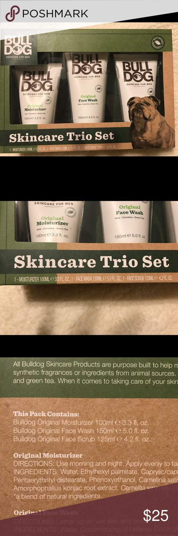 Bulldog Skincare Trio Set Bulldog Trio Set contains: Original Face Wash, Original Face Scrub and Original Moisturiser. Skincare for men All Original line contains: Aloe Vera, Camelia Oil, Green tea. Products do not contain artificial colours and are not tested on animals  Skin Concern: basic care Recommended Skin Type: normal, combination Used For: moisturizing, exfoliating, basic cleansing For Use On: Face Product Form: cream Product Warning: no warning applicable Bull Dog Skincare For Men…