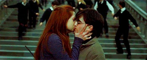 Harry and Ginny's real first kiss.