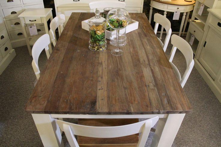 13 beste afbeeldingen over keukentafel op pinterest teakhout bureaus en brocante - Balken grijs geschilderd ...