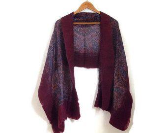 felted silk shawl, aubergine