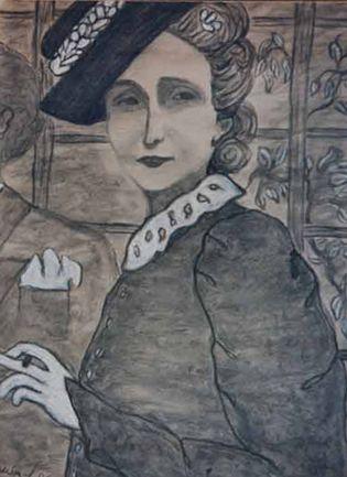 Con una foto de su abuela paterna, elegante con sombrero de flores y boquilla para el tabaco, Adela Tobar empezó a pintar retratos.