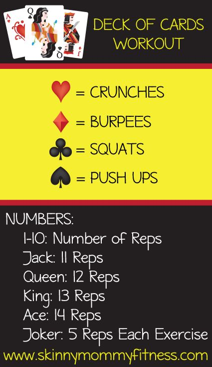 Deck of Cards Workout - Regardless of where you are this workout is a quick and easy way to get your sweat on with no equipment needed! All you need is a deck of cards and around 30 minutes for this…