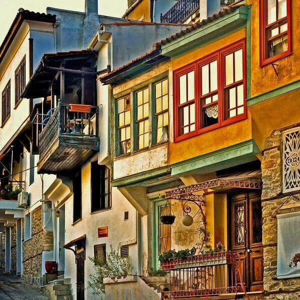 Houses in the town of Kavala, North Greece
