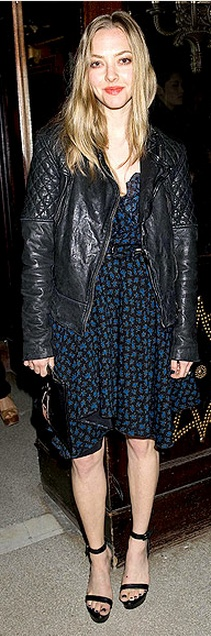 Amanda Seyfried: Jacket – AllSaints  Dress – Saint Laurent
