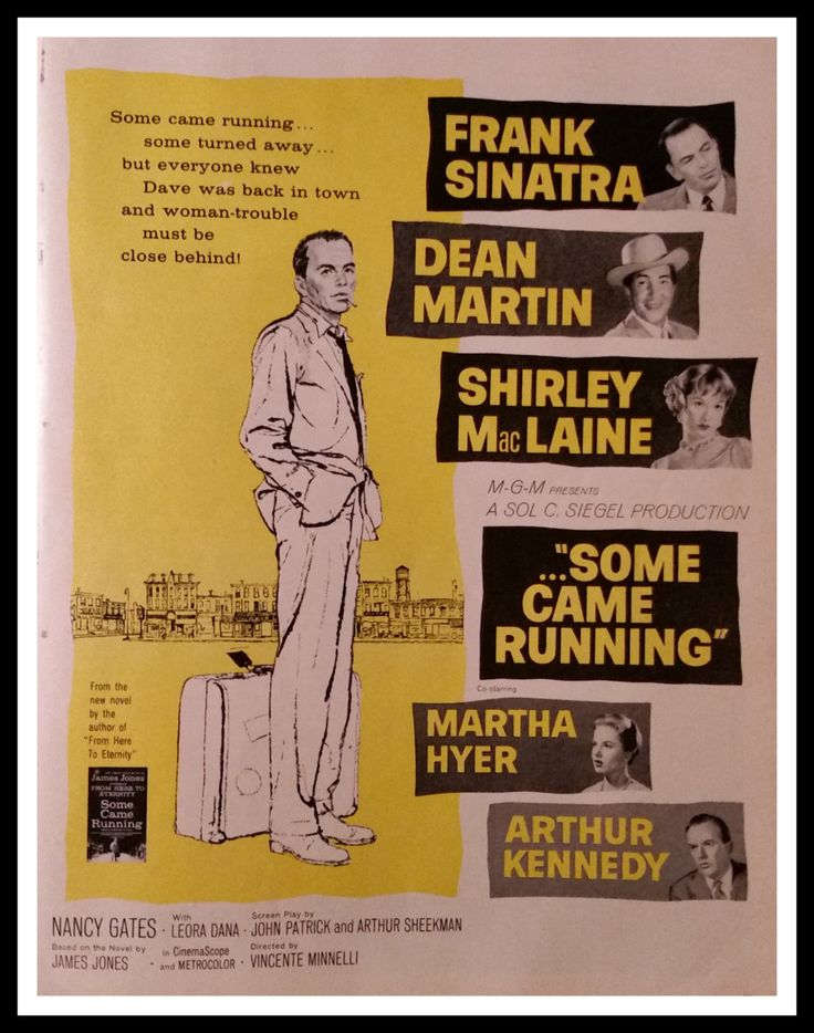 Movie Poster.  Frank Sinatra Dean Martin in  'Some Came Running' Post-WWII Coming Home film.  Shirley Maclaine.  Sinatra Fans.  1959 by bluemtcreative2 on Etsy