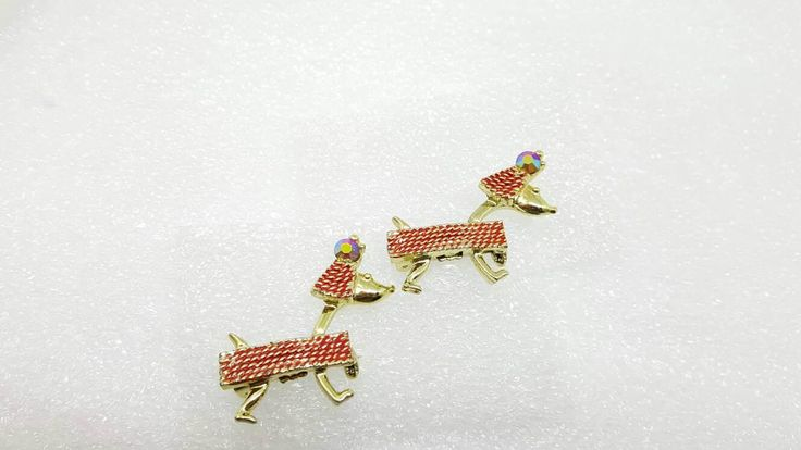 Quirky Vintage French Poodle Pair Dog brooches Sparkle Puppy Dog Lover scatter pins Red