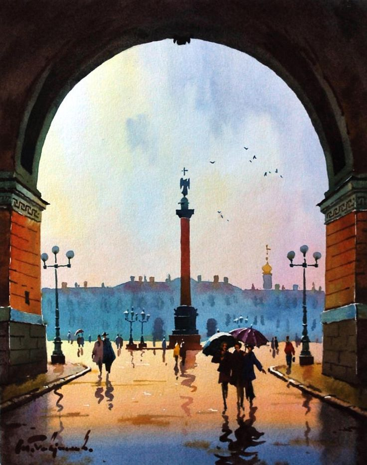 Saint Petersburg by Modest Gavrilov - View on the Palace's Square. watercolor
