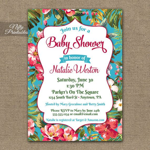 tropical baby shower invitations printable hawaiian luau baby shower invites hawaii tropical flower