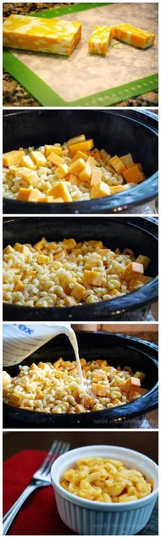 Crock pot mac and cheese  16 oz (cooked macaroni, Monterrey jack, Colby, and Velveeta cheese {cubed} and milk). 1 stick butter sliced. grease crock pot. Add milk after cheese is melted.  low 4 hrs mixing 1/2 way through {{can 1/2 recipe for 2 people - 1/2 cooking time too)
