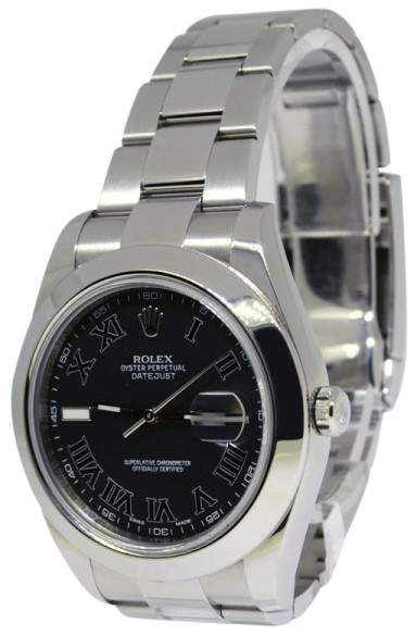 Rolex Datejust II 116300 Stainless Steel with Black Roman Dial Automatic 41mm Mens Watch