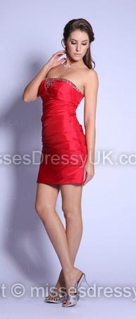 Sheath/Column Strapless Taffeta Short/Mini Red Beading Prom Dress