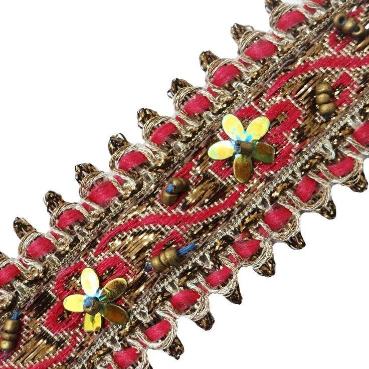 ropa frontera étnica ajuste rosado de lentejuelas sari india cinta trenzada de costura de encaje 1 yarda: Amazon.es: Hogar