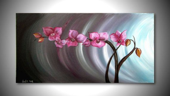 Flower painting ORIGINAL handmade Modern Acrylic painting painting on canvas, home decor Flower Abstract painting,orchids on Etsy, $123.25 CAD
