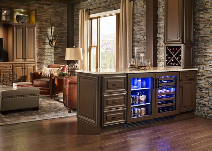 Chattanooga Man Cave With True Residential Glass Door Refrigerator And Dual  Zone Wine Cabinet. Both In Overlay Panel Option.
