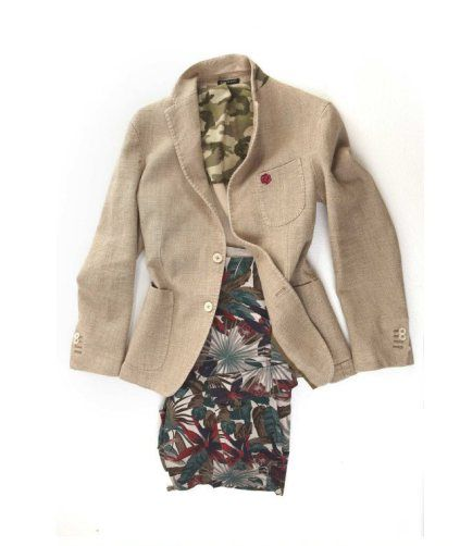 "#51LINE #JACKET by ""#AngeloNardelli1951"", in twilled linen fabric, straw like, contrasts in camouflage, with three patched pockets. 51 LINE #BERMUDA pants, combat style with #flowers pattern."