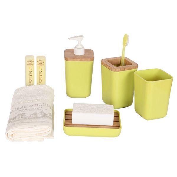 Bosphorus yesil 4lu banyo seti bambu melamin hk50246aapg
