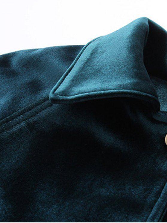 Zipper Embroidered Velvet Jacket - BLACKISH GREEN M Mobile