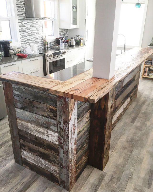 His Her Home Reclaimed Wood Island Wrap With Custom Wood