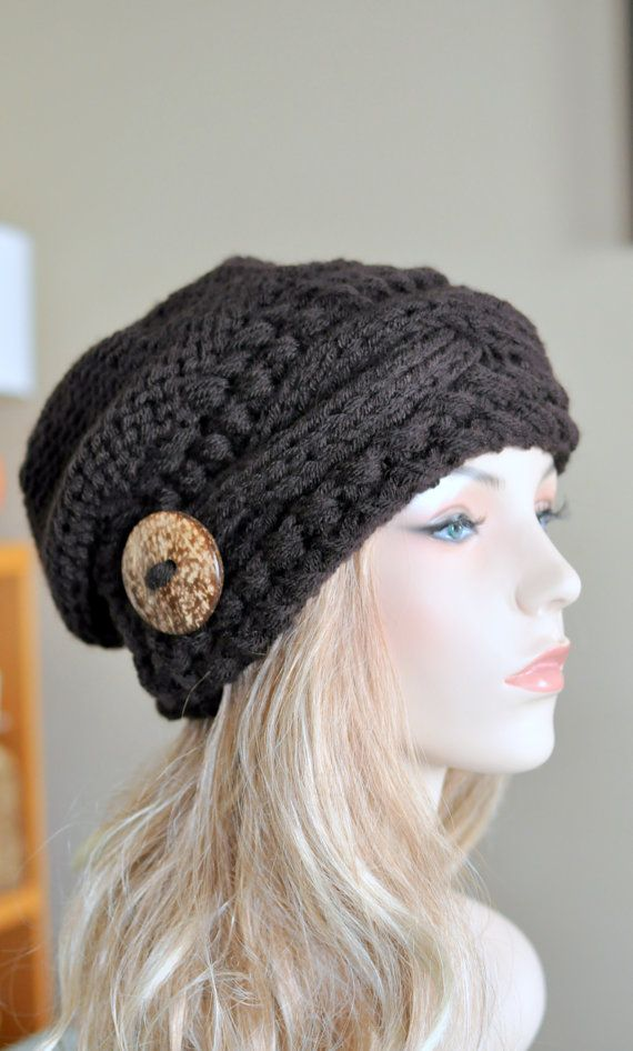 Slouchy Hat Slouch Beanie Cable Button Hat Hand Knit Winter Women Hat CHOOSE COLOR Espresso Brown Dark Chocolate Fall Chunky Christmas Gift
