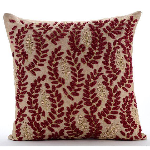 Handmade Beige Throw Pillow Covers 16x16 Silk