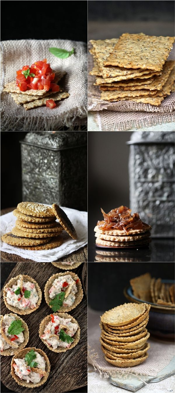 4 Great Cracker Recipes: Pepper Jack & Oregano, Cheddar, Rosemary & Walnut, Seedy Crisps, and Health Crackers. YUM!
