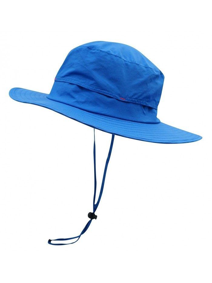 a26e886b1ad Outdoor Sun Hat Summer Wide Brim Bucket Hat boonie Fishing Hunting Hiking  Hat - Blue - C812F6LMP1B