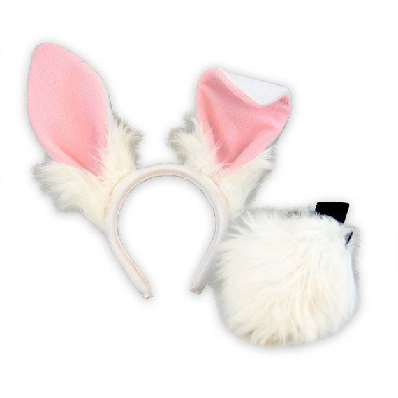 Tan and White Bunny Costume Tail