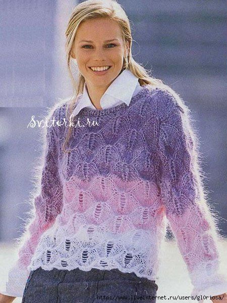 пуловер из кид-мохера реглан спицами
