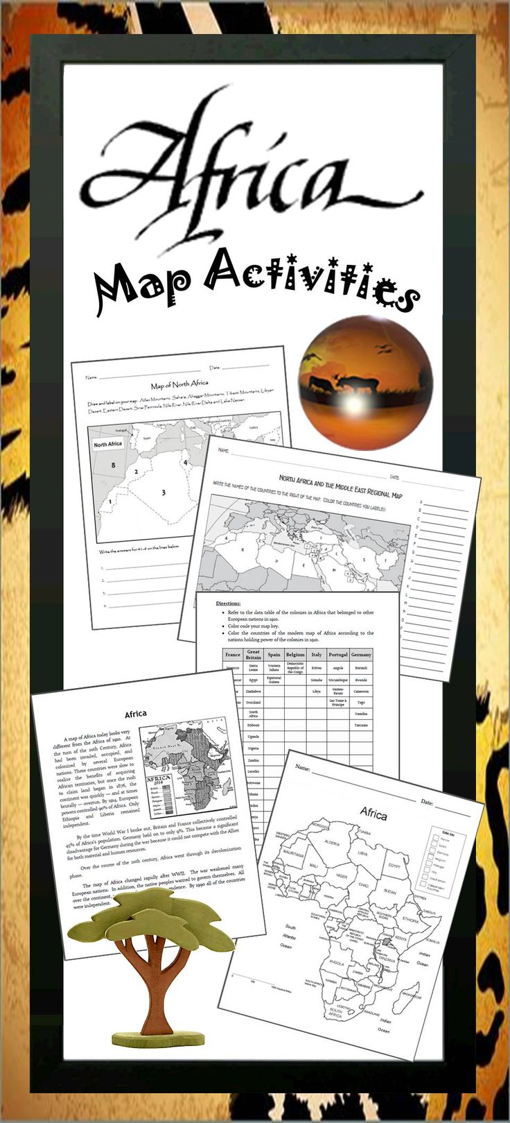 Add to your units about Africa with these color and label political maps by Jodi's Jewels. Great for middle school and junior high! Visit Jodi's Jewels today!