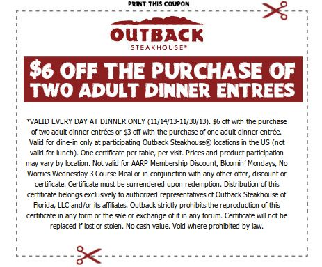 Outback discount coupons