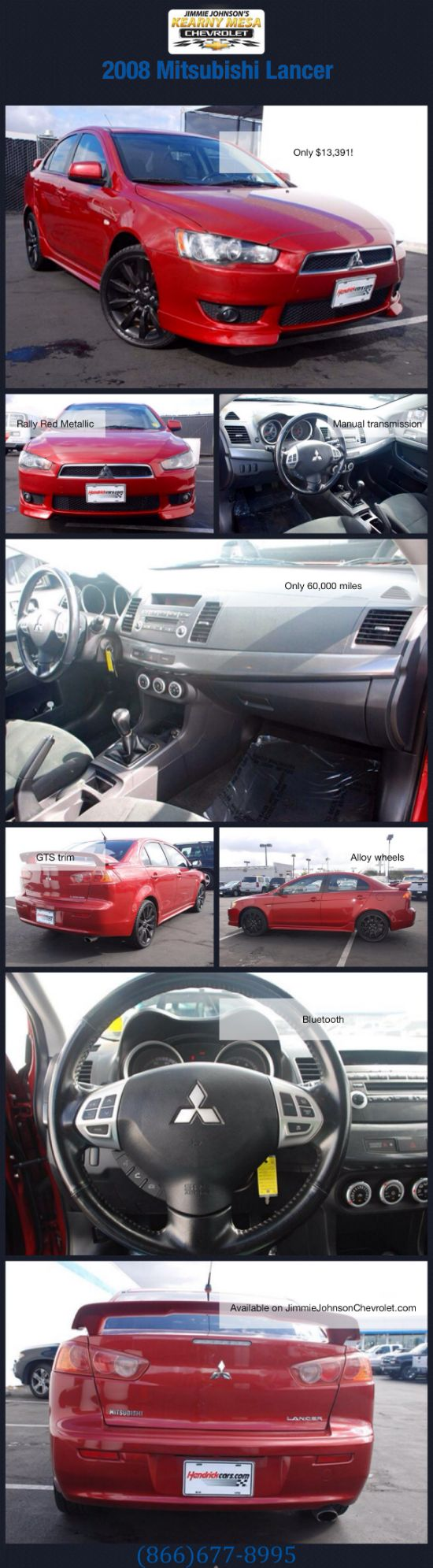 Check out this 2008 Mitsubishi Lancer for sale at Jimmie Johnson's Kearny Mesa Chevrolet! Click for more photos and specs on JimmieJohnsonChevrolet.com or call our internet sales department at (866)677-8995!