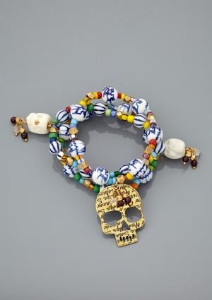 MERCEDES SALAZAR Gold-Plated/Multi Calavera Set of 3 Charm Bracelet $79.99